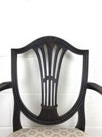 Antique 19th Century Open Arm Carver Armchair with Fabric Seat (M-1196) (4 of 11)