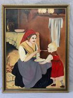 Oil Folk Art Painting Dutch Mother In Kitchen Feeding Her Child (6 of 13)