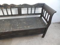 Shabby Chic Black 4 Seater Antique Pine Kitchen / Hall Box Settle / Bench (9 of 10)