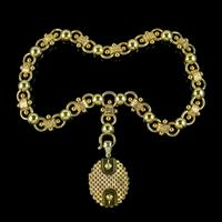 Antique Victorian Locket Collar Necklace Sterling Silver 18ct Gold Gilt Dated 1881 (9 of 11)