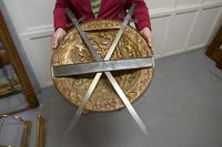 Large Decorative Wall Hanging Brass Shield with Cross Swords (2 of 7)