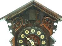 Rare Cuckoo Mantel Clock – German Black Forest Carved Bracket Clock (7 of 12)