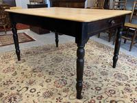 Antique Victorian Pine Farmhouse Table with Drawer (5 of 16)