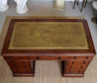 Mahogany Leather Desk 19th Century Victorian Kneehole Twin Pedestal (2 of 14)