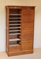 French Oak Double Tambour Front Filing Cabinet (2 of 10)