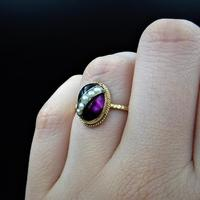 Antique Cabochon & Pearl Stripe 14K Gold Conversion Ring (6 of 8)