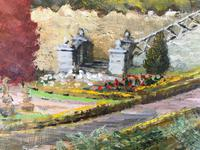 Original oil painting on board A Scottish (?) castle and formal gardens' by Barbara Lady Brassey. 1911-2010. Signed c.1980 (3 of 4)
