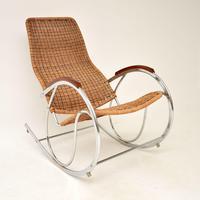 1970's Vintage Rattan & Chrome Rocking Chair