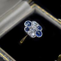 Antique Blue Sapphire and Old Cut Diamond Cluster 18ct 18K Yellow Gold and Platinum Ring (10 of 10)