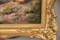 """Oil Painting by Louis Marie Lemaire """"Chickens in a Farmyard"""" (5 of 9)"""
