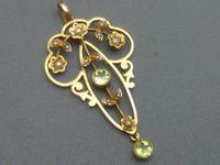 Edwardian 9ct Gold, Peridot & Pearl Pendant (4 of 5)
