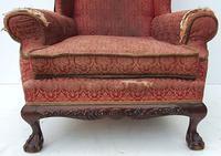 Irish Chippendale Design 19th Century Mahogany Wing Back Armchair (6 of 9)