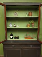 Antique Black Painted Bookcase Dresser Cabinet with Glazed Top, Lockable, Gothic (10 of 14)