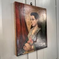 Antique Victorian oil painting portrait Girl in Lace Collar attributed to Dicksee (8 of 9)