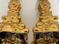 Pair of Decorative French 19th Century Gilded Hallmarked Cartouche Scroll Candlesticks (35 of 40)