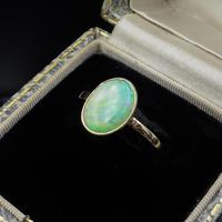 Antique Colourful Natural Opal Oval Solitaire 9ct 9K Gold Ring (3 of 9)