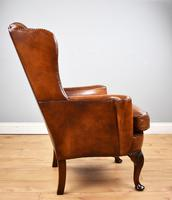 Victorian Hand Dyed Brown Leather Wing Back Armchair (3 of 13)