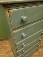 Painted Narrow Blue Pine Chest of Drawers, Shabby Chic (8 of 11)