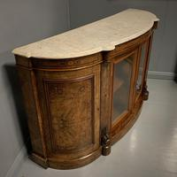English burr walnut Credenza with Carrara marble top (3 of 10)