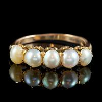 Antique Victorian Pearl Ring 15ct Gold c.1900 (3 of 6)