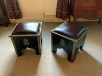 Pair of Moroccan Country House Studded & Leather Upholstered Footstools Seats (2 of 9)
