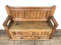 Pitch Pine and Oak Settle Bench with Drawers (M-1475) (10 of 11)