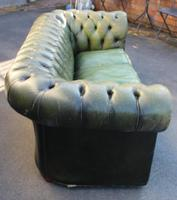 1960s Chesterfield Green Leather Buttoned Back 3 Seater Sofa. (3 of 3)