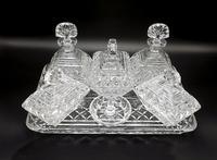 7 Piece Art Deco Glass Vanity Set with Perfume Bottles (2 of 7)