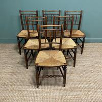 Set of Six Georgian Elm Country House Antique Dining Chairs (9 of 11)