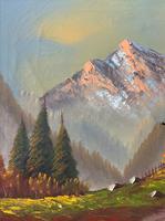 The Three Peaks 20thc Vintage Swiss School - Mountainous Landscape Oil Painting (7 of 12)