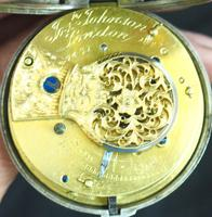 Great Antique Silver Pair Case Pocket Watch Fusee Verge Escapement Key Wind Enamel Dial Johnson London (7 of 10)