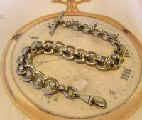 Antique Pocket Watch Chain 1920s Large Silver Nickel Fancy Link Albert With T Bar (2 of 10)