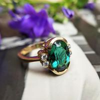 Vintage 18ct Gold Green Tourmaline & Diamond Dress Ring (4 of 13)