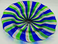 Rare Murano Glass XL Size Platter with Swirled Coloured Stripes (5 of 10)
