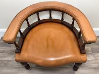 Charming Traditional Victorian Style Tan Brown Office Captains Bankers Chair (6 of 42)