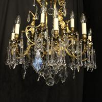 French Pair Bronze 12 Light Antique Chandeliers (3 of 11)