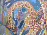 Large oil on board Giraffes in the park listed artist Henry Sanders (4 of 11)