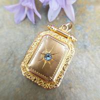 Antique Victorian 9ct Gold & Aquamarine Rectangular Locket Pendant (4 of 9)