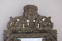 19th Century French Renaissance Style Octagonal Repousse Brass Cushion Framed Mirror (7 of 7)