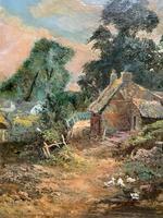 Original 19th Century British Farmland Countryside Landscape Oil Painting (8 of 11)