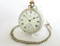 Antique Silver Waltham Pocket Watch and Chain