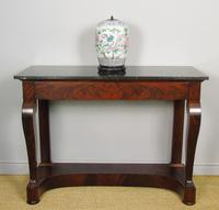 Elegant French Empire Mahogany & Marble Console Table