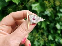 1.65ct Diamond & 0.48ct Ruby, 18ct Yellow Gold Flag Brooch - Vintage c.1945 (2 of 9)