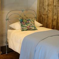 Blue Verdigris Platform Style Victorian Antique Single Bed (8 of 8)