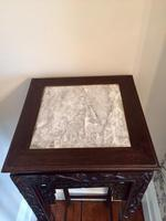 Tall Chinese Hardwood Jardinière Plant Stand with Marble Top (4 of 11)
