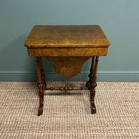 Spectacular Figured Walnut Inlaid Victorian Antique Work Box / Side Table (2 of 8)
