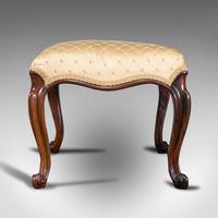 Antique Dressing Stool, English, Walnut, Upholstery, Boudoir Seat, Regency c.1820 (2 of 12)
