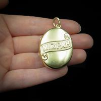 Antique Victorian Mizpah Oval Gold Gilt Photo Locket Pendant (8 of 8)