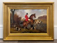 """Victorian Sporting Oil Painting """"Taking A Fence"""" Horse  & Rider With Scent Foxhounds Hunting By John Alfred Wheeler (3 of 59)"""