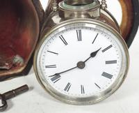 Extremely Rare Miniature Carriage Clock Round Silver Case with Original Case & Platform (3 of 11)